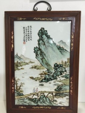 Chinese Porcelain Landscape Panel