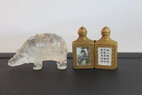 Chinese Snuff Bottle And Rock Crystal Statue