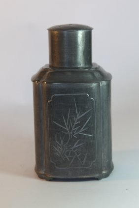 Chinese Pewter Tea Caddy With Carvings