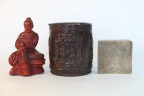 Chinese Antique Lot, Cinnabar, Bamboo, And Ink Box