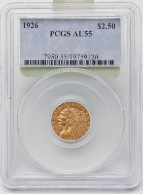 1926 Indian Head $2.50 Gold Pcgs Au55