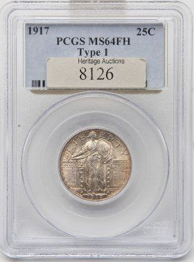 1917 T-1 Standing Liberty Quarter Pcgs Ms64fh
