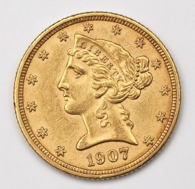 1907-d Liberty Head $5 Gold Half Eagle