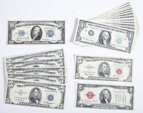 20 Us Notes Incl Silver Certificates & Red Seals