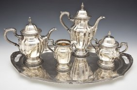 5 Pc Reed & Barton Dechamplain Silverplate Tea Set
