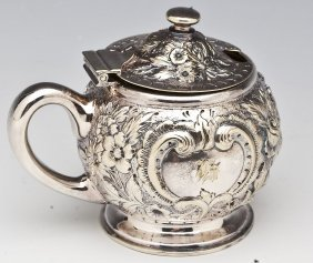 Tiffany & Co. Silver Soldered Repousse Mustard Pot