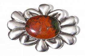 Large Navajo Silver & Agate Brooch