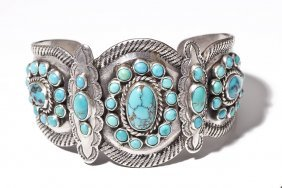 Signed Navajo Silver & Turquoise Cuff Bracelet