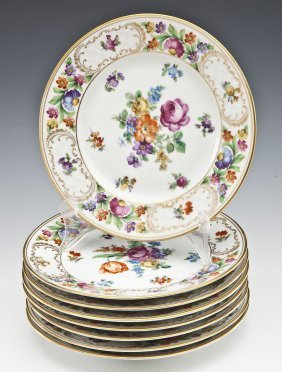 8 Hand Painted Dresden Porcelain Luncheon Plates