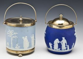 2 Wedgwood Blue Jasperware Biscuit Jars
