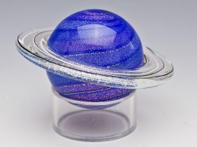 "J. Simpson ""rings Of Saturn"" Art Glass Paperweight"