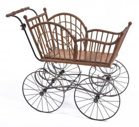 Victorian Wooden & Iron Baby Carriage