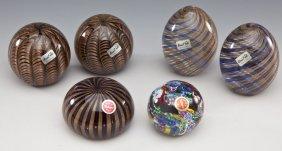 6 Art Glass Paperweights Incl Murano