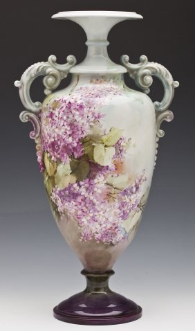 Hand Painted Belleek Amphora With Hyacinth