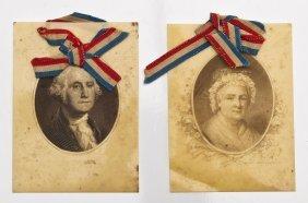 Pair George & Martha Celluloid Portrait Vignettes