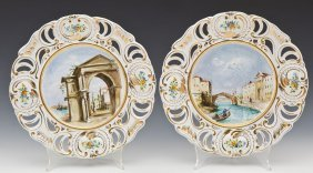 Pair Hand Painted Italian Plates Signed Corsi