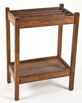Arts & Craft Style Walnut Cane Or Umbrella Stand