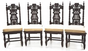 4 Jacobean Revival Dining Room Chairs