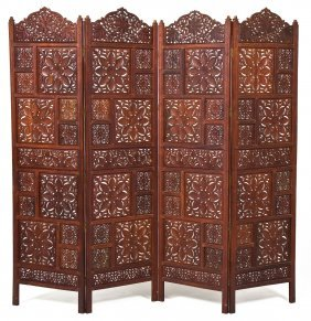 Four Panel Asian Carved Room Screen