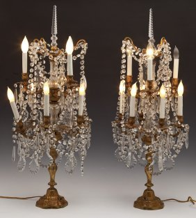 Pair Of Crystal Table Chandeliers