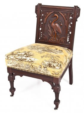 Aesthetic Movement Parlor Chair W/stork