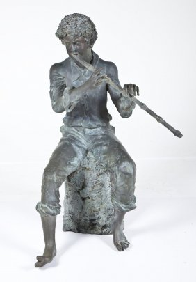 """Large 53"""" Bronze Fountain Of A Flute Player"""