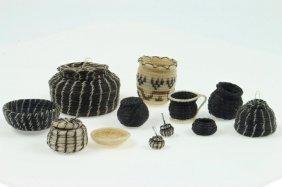 Twelve Papago Horsehair Miniature Baskets