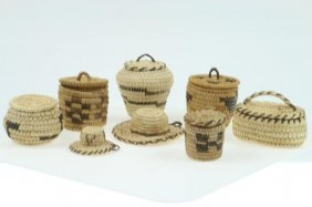 Eight Papago Miniature Basketry Items