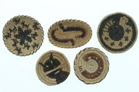 Five Pima Miniature Pictorial Trays