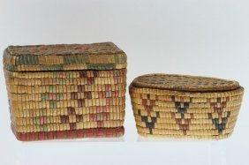 Two Salish Lidded Rectangular Baskets