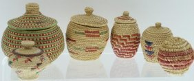 Six Eskimo Miniature Lidded Baskets