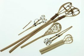 Four Pairs Of Native American Model Lacrosse Sticks