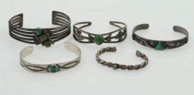 Five Navajo Bracelets, Some With Turquoise