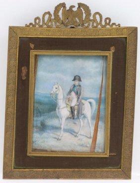 Miniature Equestrian Portrait Of Napoleon, 19th/20th C.