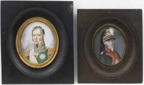 Two Portrait Miniature Of French Officers, Late 19th C.
