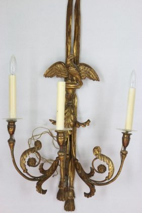 Pair Of Neoclassical Style Giltwood Wall Lights