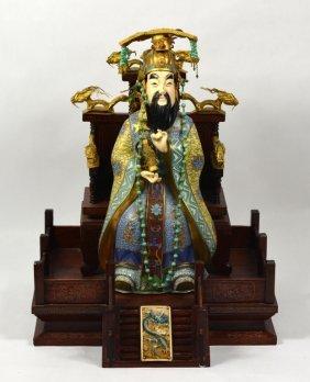 Chinese Enamel Cloisnnoe Figure Set On Wood Base