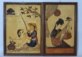 Japanese Pair Of Carved Wooden Framed