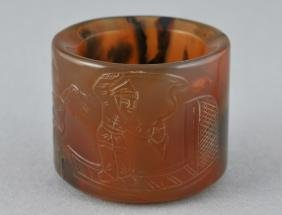 Agate Archers Ring. China. 19th Century. Surface Carved