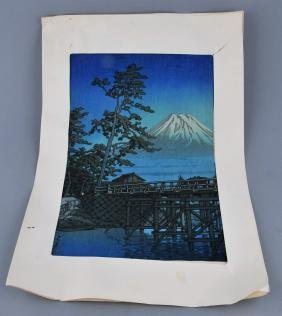 Kawase Hasui Print. Mt. Fuji And Kawai Bridge. First