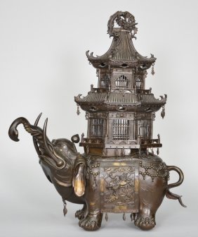 Oriental Bronze Chinese Incense Burner, Elephant