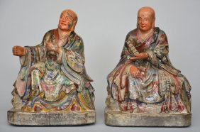 Two Oriental Polychromed Wooden Buddhist Monks, Ca.