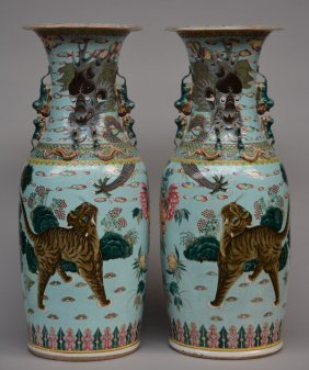 An Exceptional Pair Chinese Turquoise Vases, Decorated