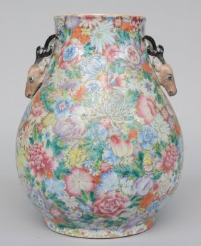 An Exceptional Chinese Mille-fleurs Hu-vase, Decorated
