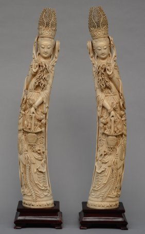 An Extraordinary Pair Of Chinese Carved Ivory Court