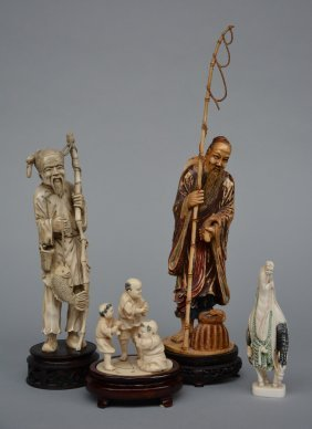 Two Chinese Ivory Carved Figures, Representing