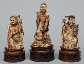 Three Chinese Carved Ivory Polychrome Groups Of