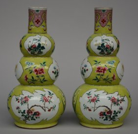 A Pair Of Chinese Green Ground Triple-gourd Vases,