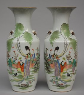 An Exceptional Pair Of Chinese Vases, Polychrome