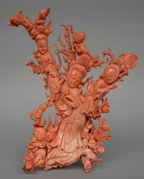 A Chinese Red Coral Sculpture Depicting Three Figures
